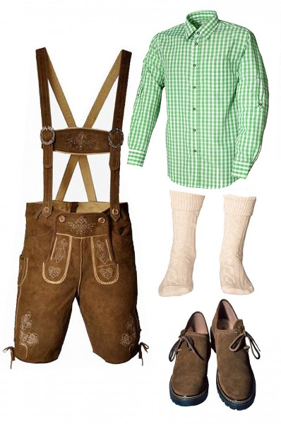 Trachtenlederhosen-Set 5-tlg. kurz hellbraun mit grünem Hemd und Schuhen von Fuchs