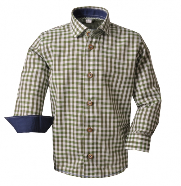 Kinder Trachtenhemd Buttenwiesen grün Karo Langarm OS Trachten