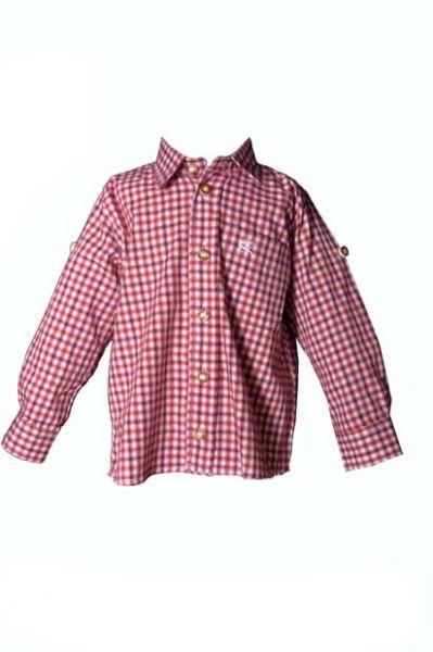 Kinder Trachtenhemd Toni rot Langarm OS-Trachten