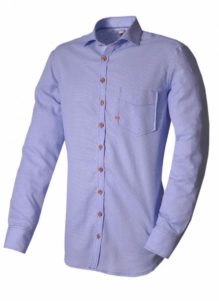Trachtenhemd Donaustauf blau Langarm OS Trachten