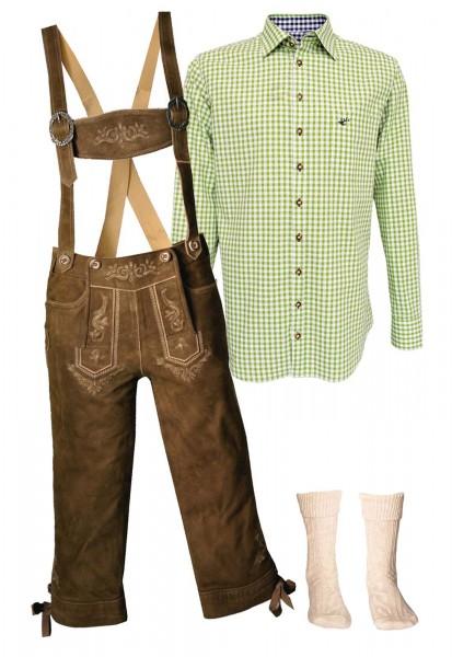 Trachtenlederhosen-Set 4-tlg. Kniebund torf antik von Stockerpoint mit hellgrünem Hemd von OS Tracht