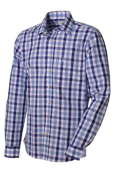 Trachtenhemd Fabian blau slim fit Almsach