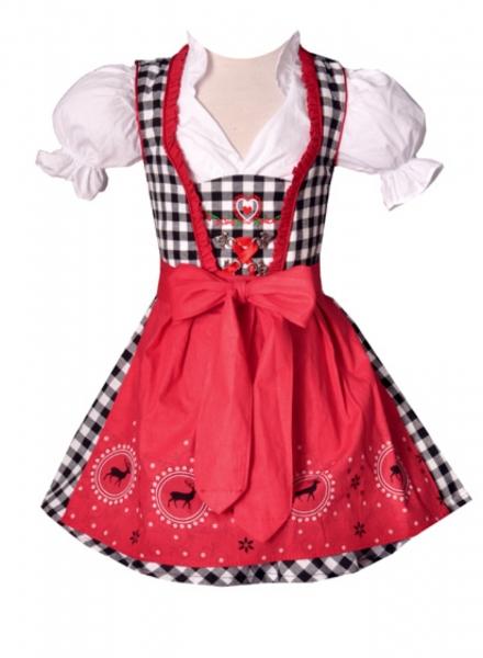 Kinderdirndl Josy rot/schwarz Set 3-tlg. Bayer Madl