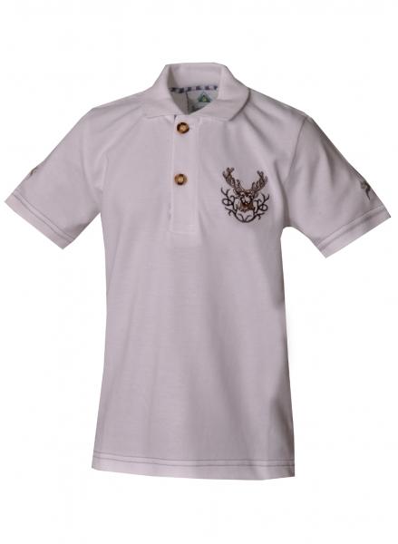 Kinder Trachten Poloshirt Trachtenshirt Hohenpolding weiß Hirschstickerei Isar Trachten