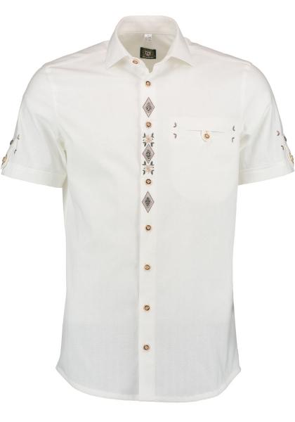 Trachtenhemd Kleinbirken weiß Slim Fit Kurzarm OS Trachten