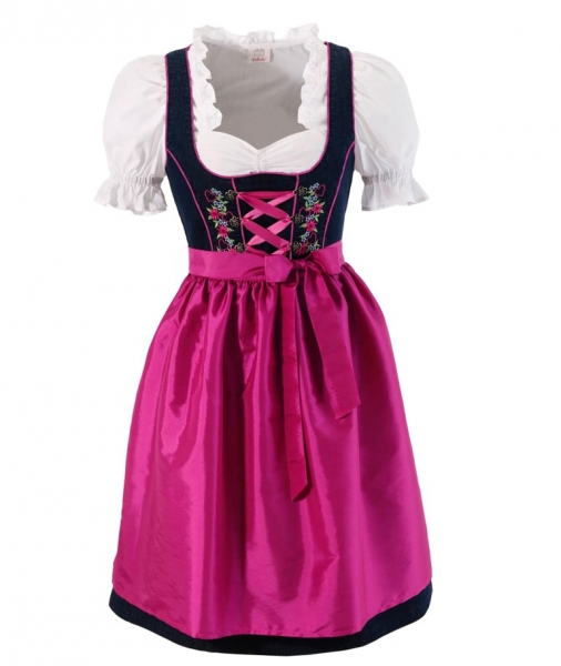 Dirndl midi 60cm Aying blau pink Set 3-tlg. Naber Collection
