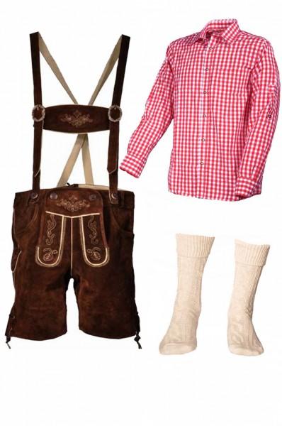 Trachtenlederhosen-Set 4-tlg. kurz braun mit rotem Hemd