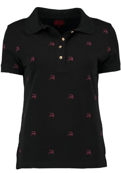 Trachten T-Shirt Poloshirt Sulzemoos schwarz Hirschmotive OS Trachten