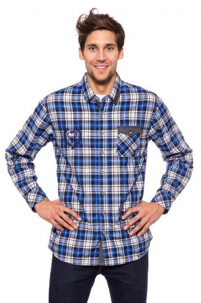 Trachtenhemd Eroberer blau Krüger