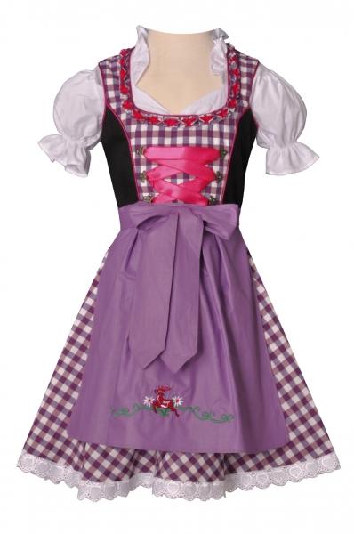 Kinderdirndl Burghaslach lila/pink/schwarz Trachtenset 3-tlg. Bayer Madl