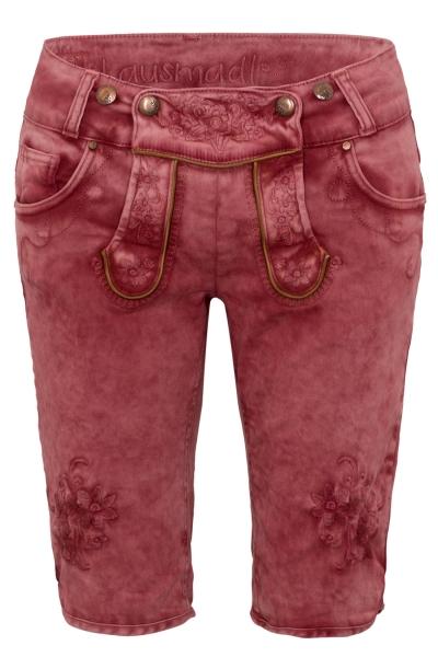 Trachtenjeans Bermuda Ovida weinrot rot Jeans Shorts Hangowear