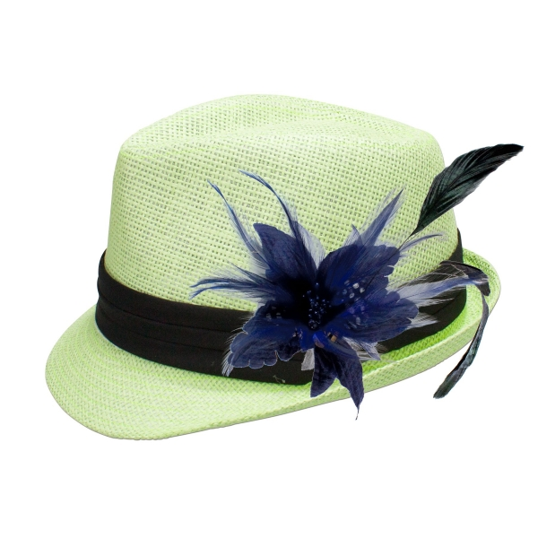 Trachten-Strohhut hellgrün Feder blau Alpenflüstern