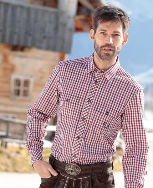 Trachtenhemd Feierlaune rot/braun Langarm Slim Fit Spieth & Wensky
