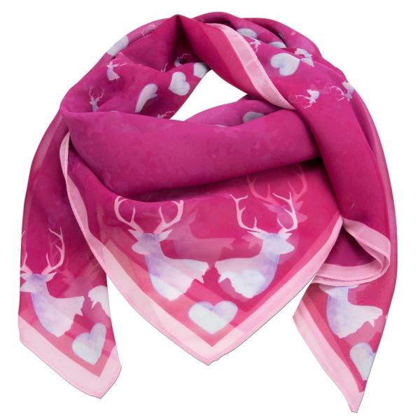 Trachtentuch Tuch Trachtenstil Hirsch-Kreisel fuchsia Pink