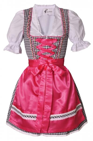 Dirndl mini 50 cm Regine schwarz/pink Trachtenset 3-tlg. Bayer Madl