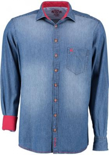 Trachtenhemd Aholfing blau jeansblau Slim Fit OS Trachten