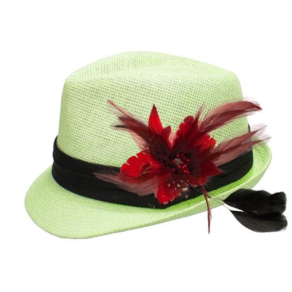 Trachten-Strohhut hellgrün Feder-Clip rot