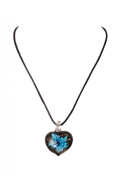 Dirndlkette Trachtenkette Treffelstein herzförmig Kunstglas türkis