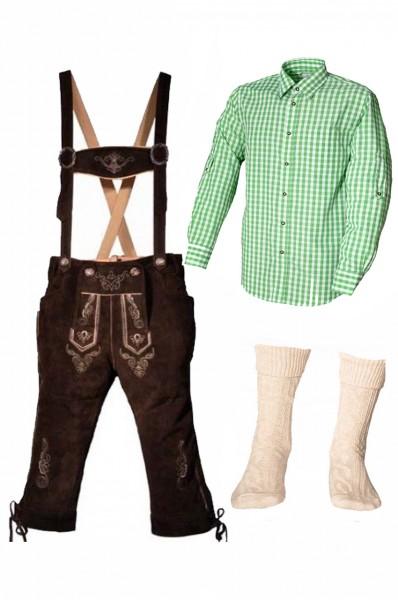 Trachtenlederhosen-Set 4-tlg. Kniebund dunkelbraun mit grünem Hemd