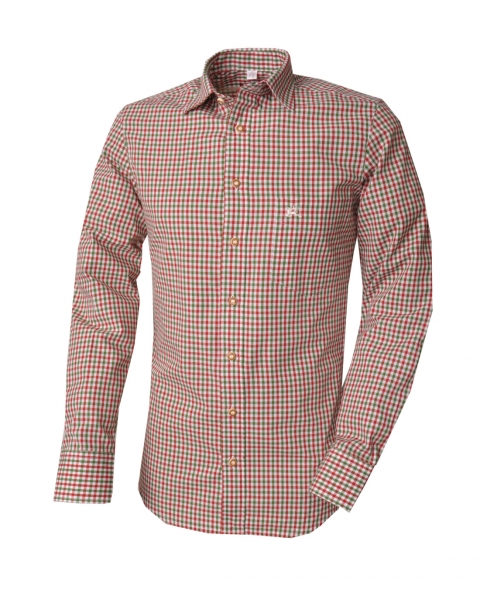 Trachtenhemd Igor grün / rot Karo Langarm Slim Fit OS Trachten