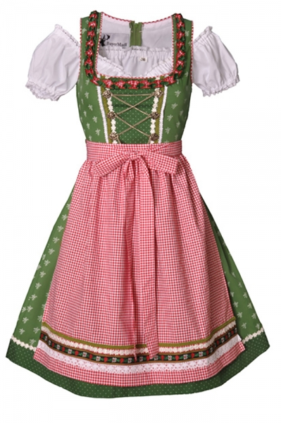 Dirndl midi 60 cm Claudia grün/rot Trachtenset 3-tlg. Bayer Madl