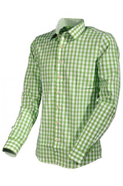 Trachtenhemd Berni Langarm grün Karo Almsach