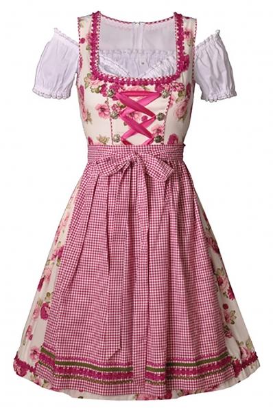 Dirndl midi 60 cm Wilhelmine pink Trachtenset 3-tlg. Bayer Madl