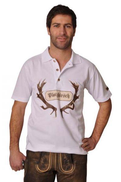 Trachten Poloshirt Platzhirsch weiß OS Trachten