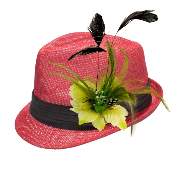 Trachten-Strohhut rot Feder-Clip hellgrün