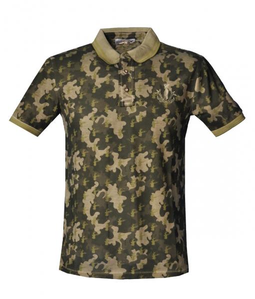 Trachten Poloshirt Offenstetten military grün Kurzarm Almsach