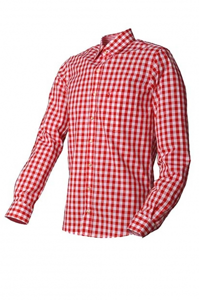 Trachtenhemd Hermann Karo Rot Basic Almsach