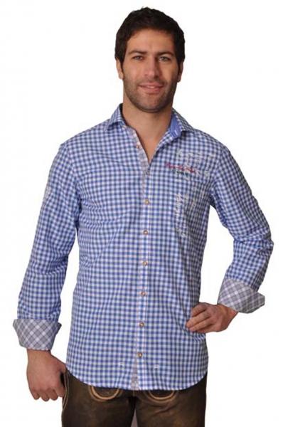 Trachtenhemd Valentin blau Karo Langarm OS Trachten