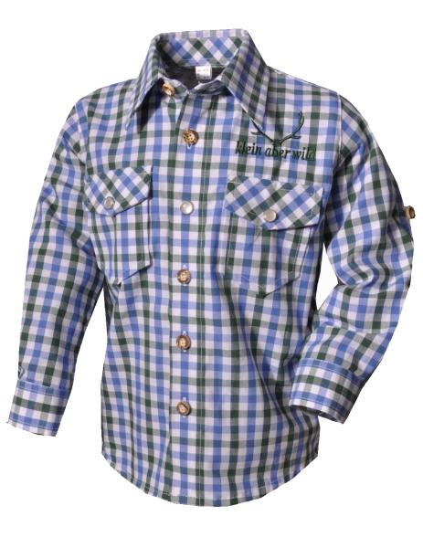 Kinder Trachtenhemd Beratzhausen jeans kariert Langarm OS Trachten