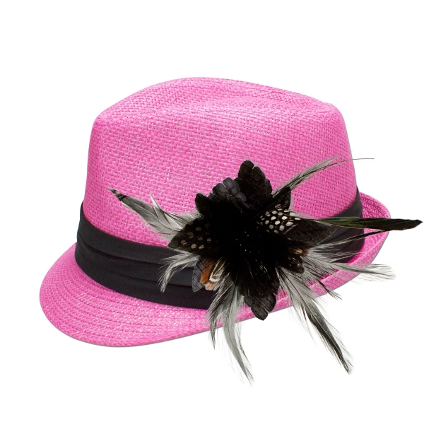 Trachten-Strohhut pink Feder-Clip schwarz