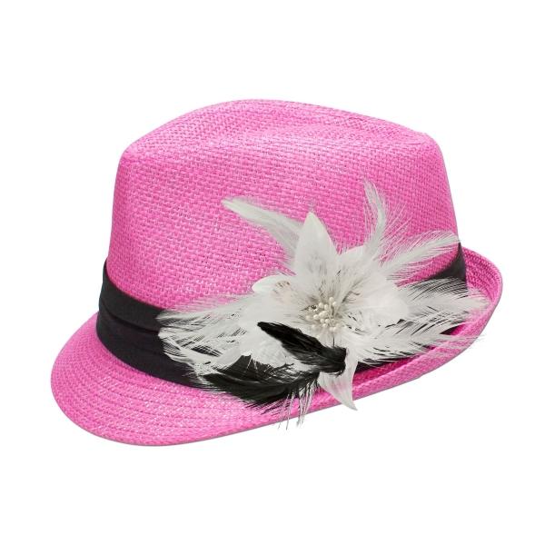Trachten-Strohhut pink Feder-Clip weiß
