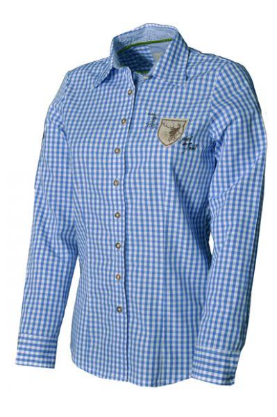Bluse Trachtenbluse Ladine Langarm Karo Jeansblau v. OS-Trachten
