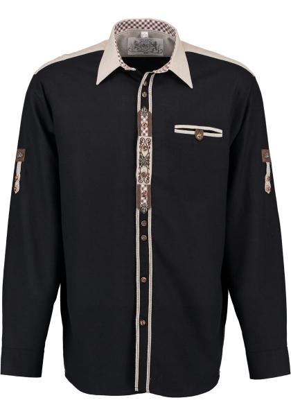Trachtenhemd Jenkofen schwarz Krempelarm OS Trachten