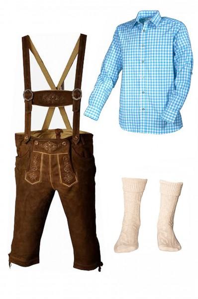 Trachtenlederhosen-Set 4-tlg. Kniebund hellbraun mit türkisem Hemd von Fuchs