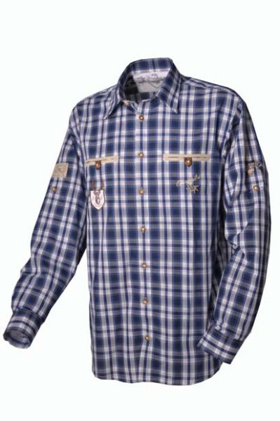 Trachtenhemd Bert blau Karo Langarm OS Trachten