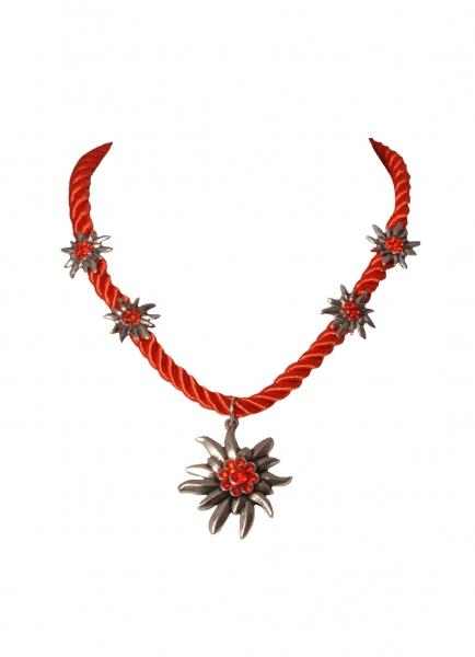 Dirndlkette Trachtenkette Fahrenzhausen Edelweiß rot