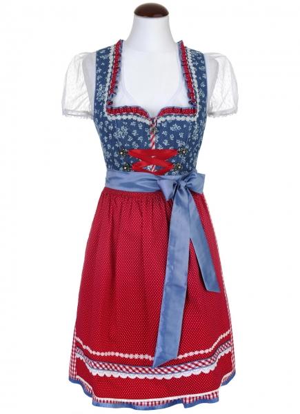Dirndl mini 55 cm Doro blau/kirschrot Spieth & Wensky