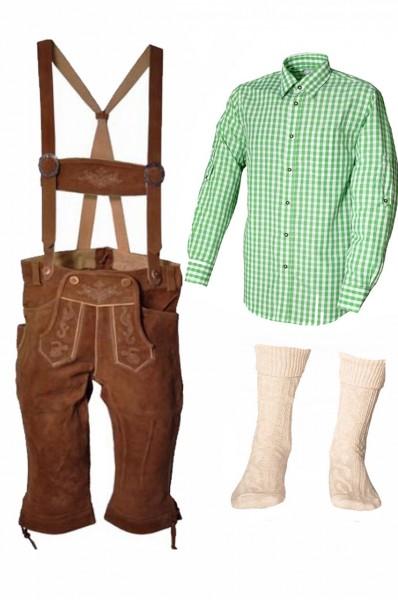Trachtenlederhosen-Set 4-tlg. Kniebund hellbraun mit grünem Hemd