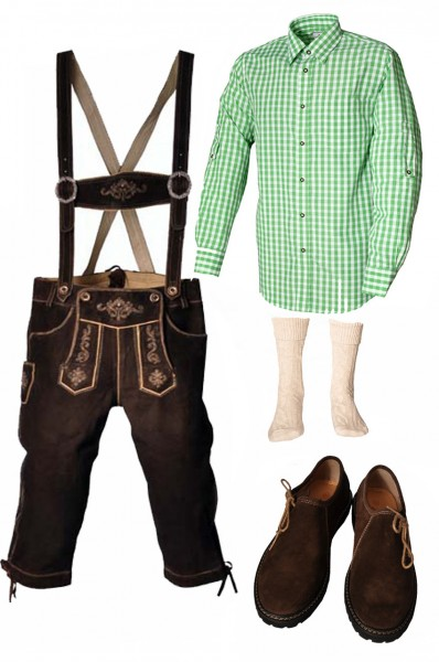 Trachtenlederhosen-Set 5-tlg. Kniebund dunkelbraun mit grünem Hemd und Schuhen von Fuchs