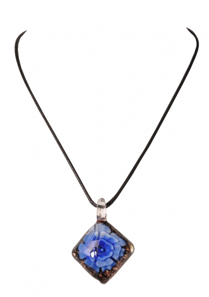 Dirndlkette Trachtenkette Trausnitz rautenförmig Kunstglas blau