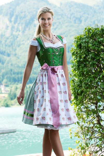 Dirndl midi 60 cm Julina oliv/rosa mit Unterrock Country Line