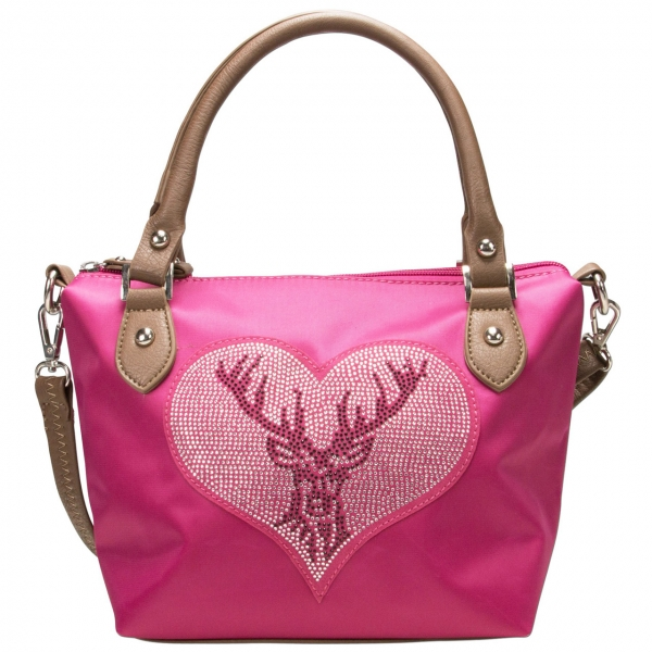 Trachten Handtasche Hirsch Glitzerstein pink