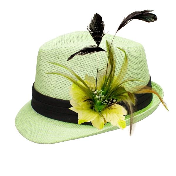 Trachten-Strohhut hellgrün Feder-Clip hellgrün
