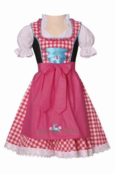 Kinderdirndl Burghaslach pink/türkis/schwarz Trachtenset 3-tlg. Bayer Madl