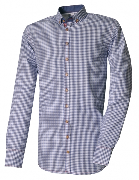 Trachtenhemd Martlhaid marine blau Slim Fit Langarm OS Trachten