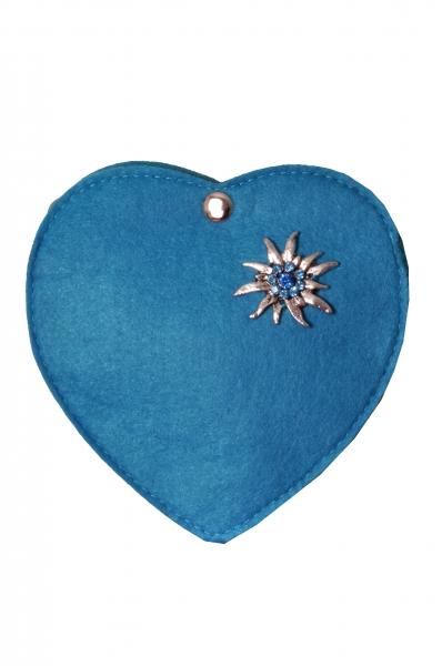 Kinder Trachtentasche Herz Perlesreut blau Wolkenweis